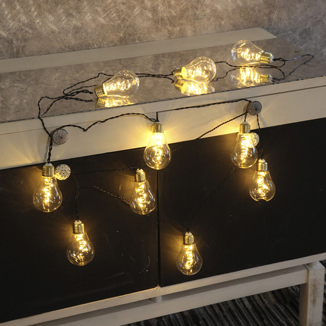LED-lyskæde Glow, glas, hvid