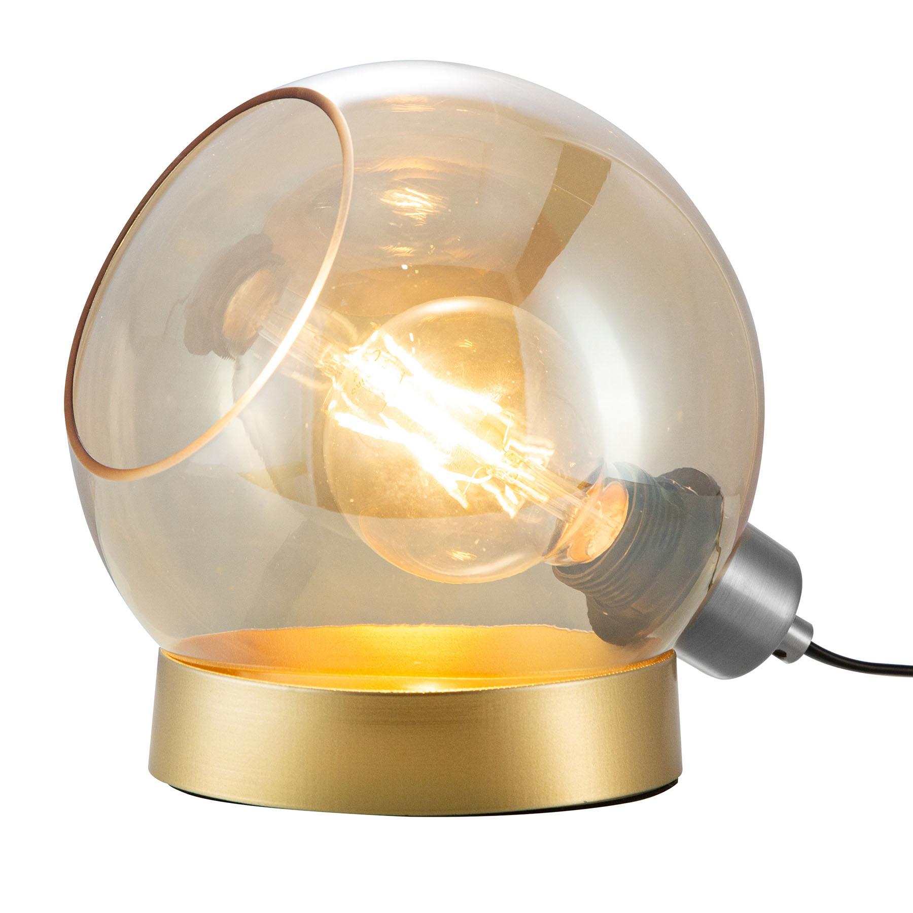 Tafellamp Toula, Ø 20 cm, glas amber