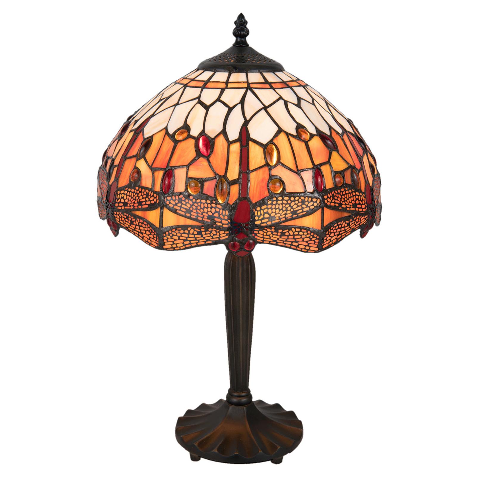 Lampe à poser 5204 motif libellule, rouge-brun