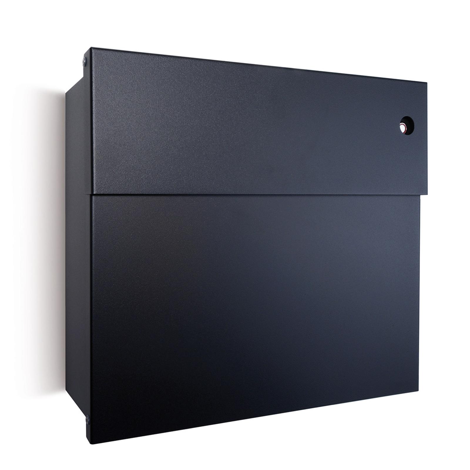 Briefkasten Letterman IV, rote Klingel, schwarz