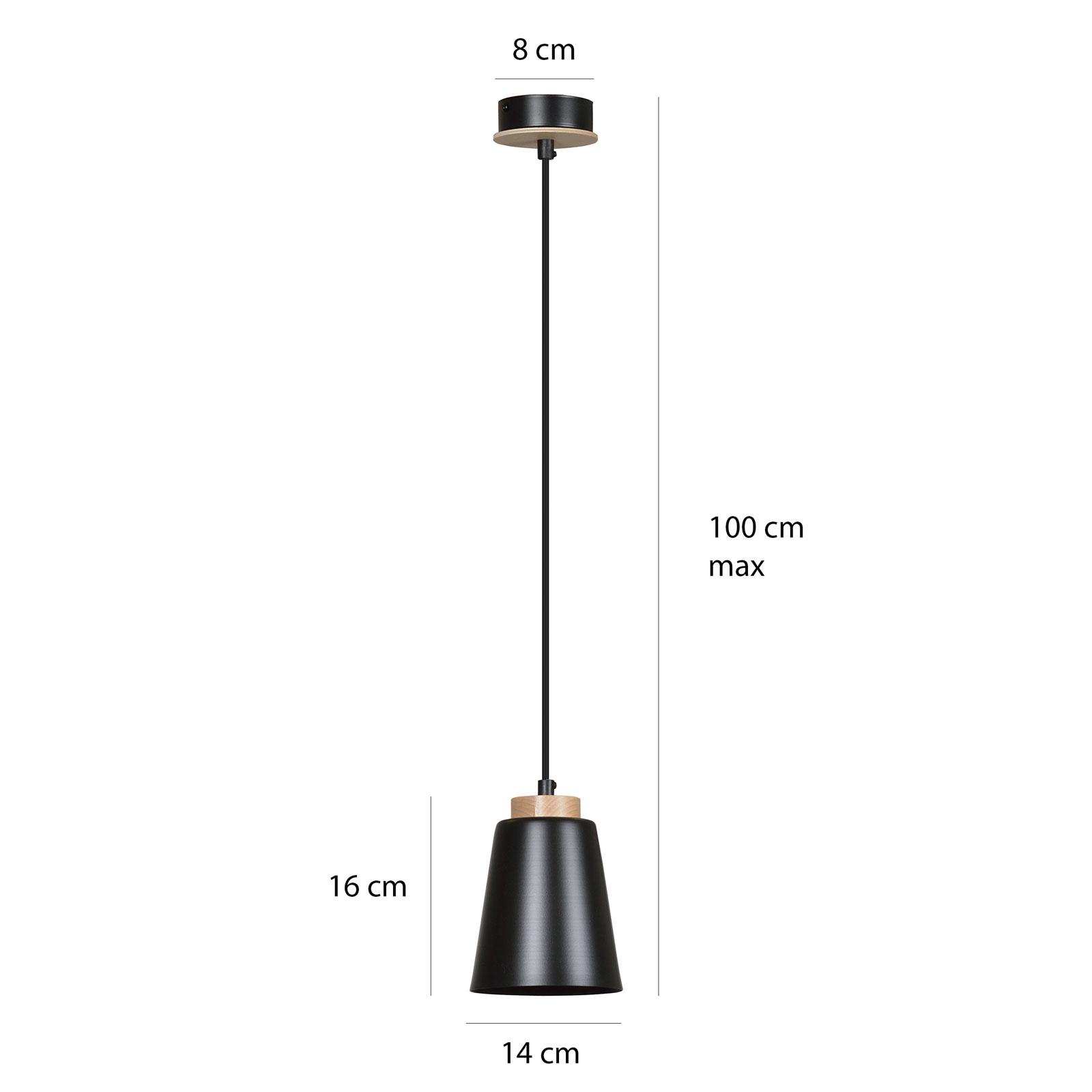 Lampa wisząca Bolero 1, 1-pkt., czarna