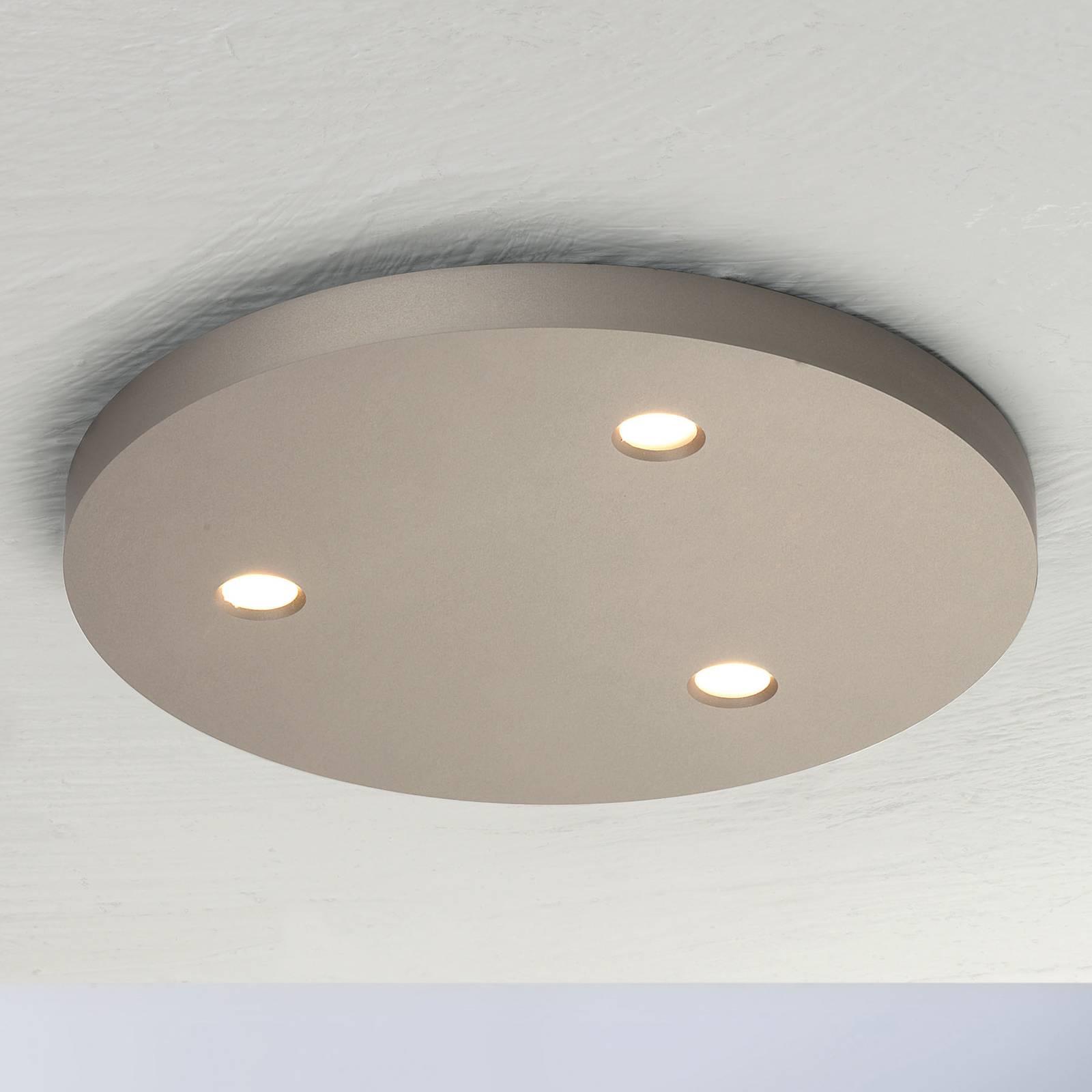 Bopp Close LED plafondlamp 3-lamps rond taupe
