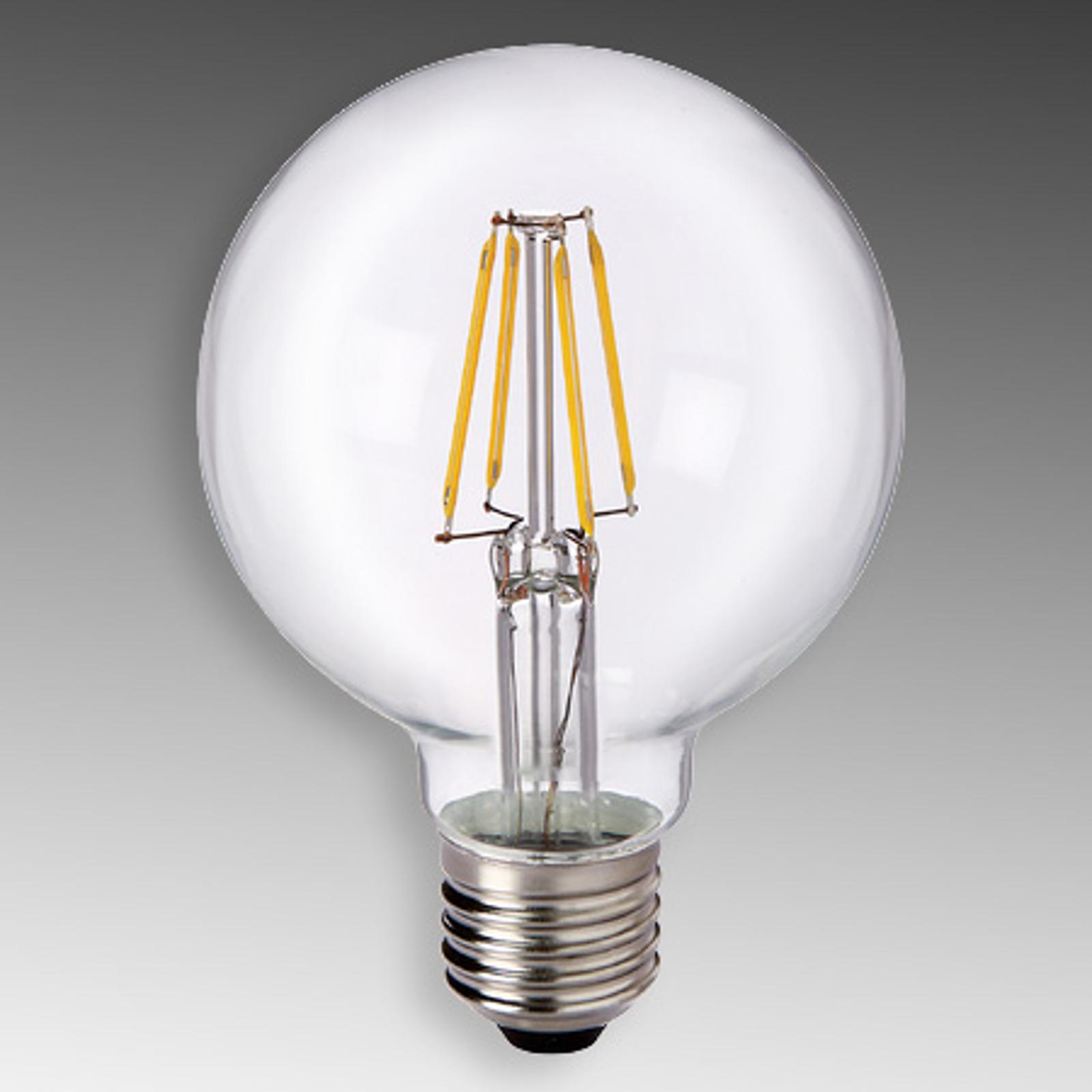 LED-Globelampe E27 6W 827 G80 Filament klar