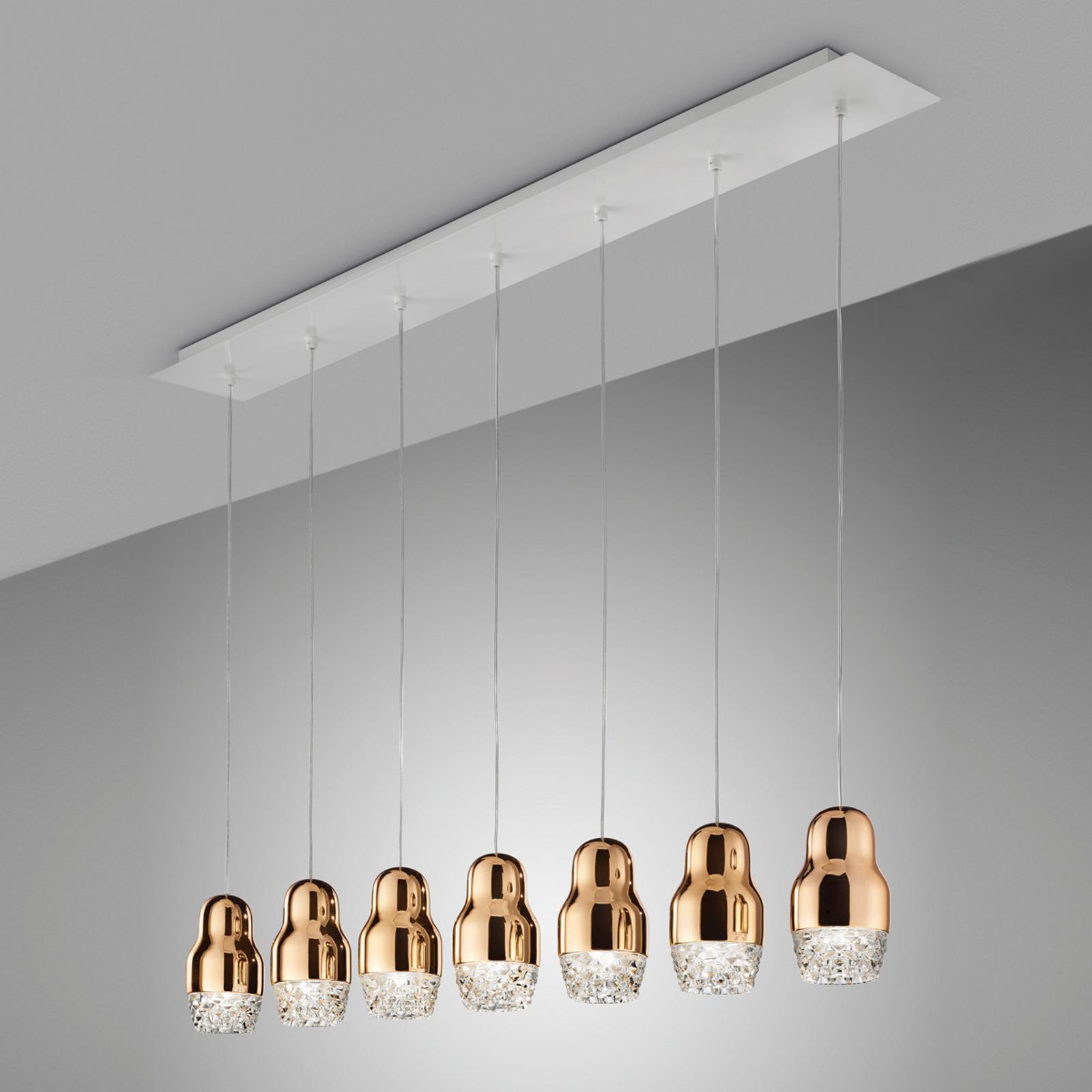 Pendellamp Fedora roségoud met zeven lampjes