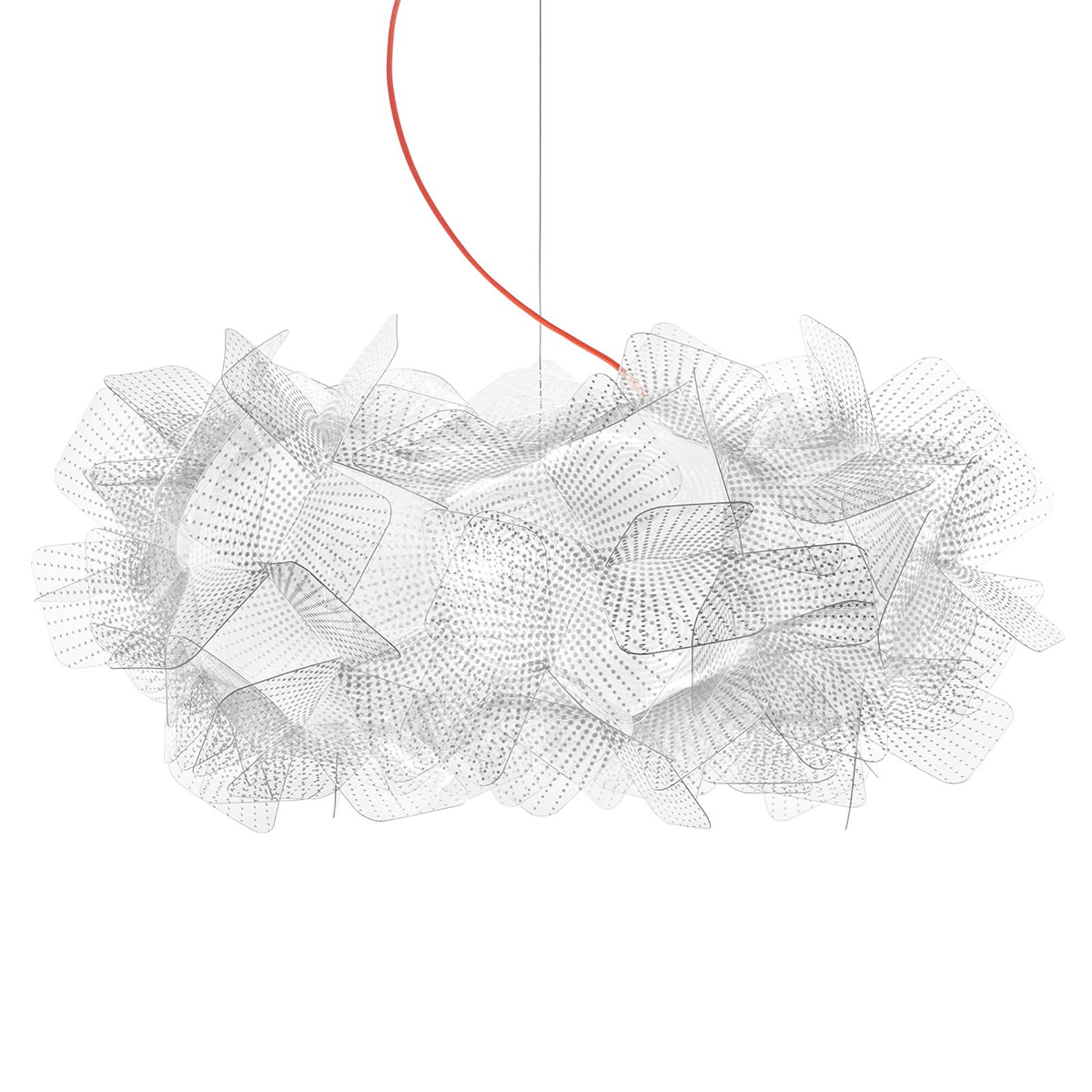 Slamp Clizia Pixel hengelampe, rød kabel, Ø 53 cm