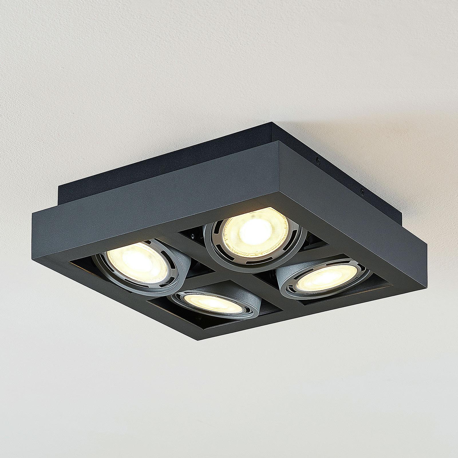 LED-Deckenstrahler Ronka, 4-fl., quadratisch, grau