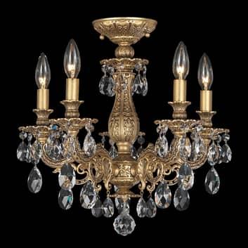 Corona de techo Milano con cristales, color bronce