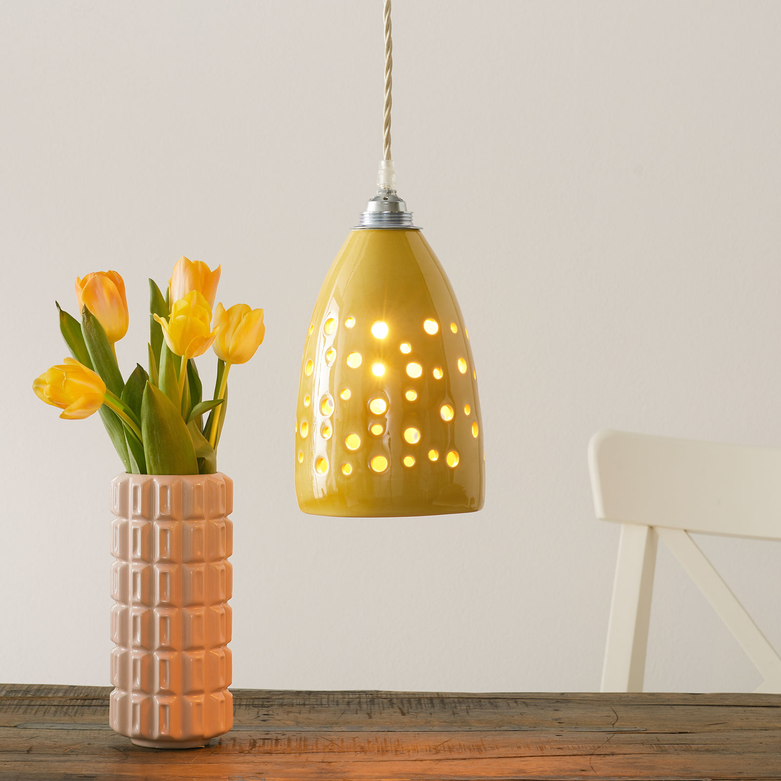Keramiek-hanglamp S1815 in geel