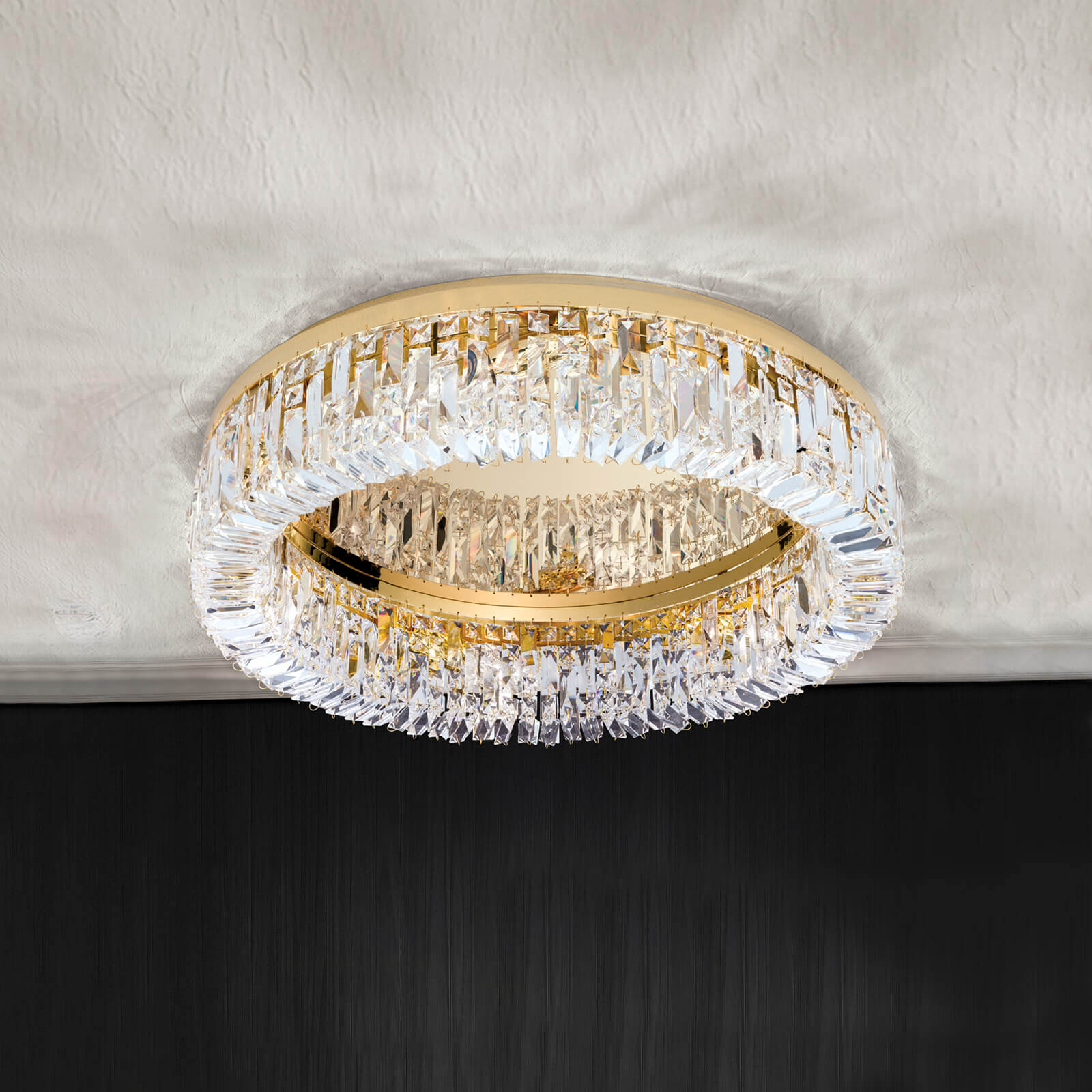 Taklampe Ring i krystall - 59 cm