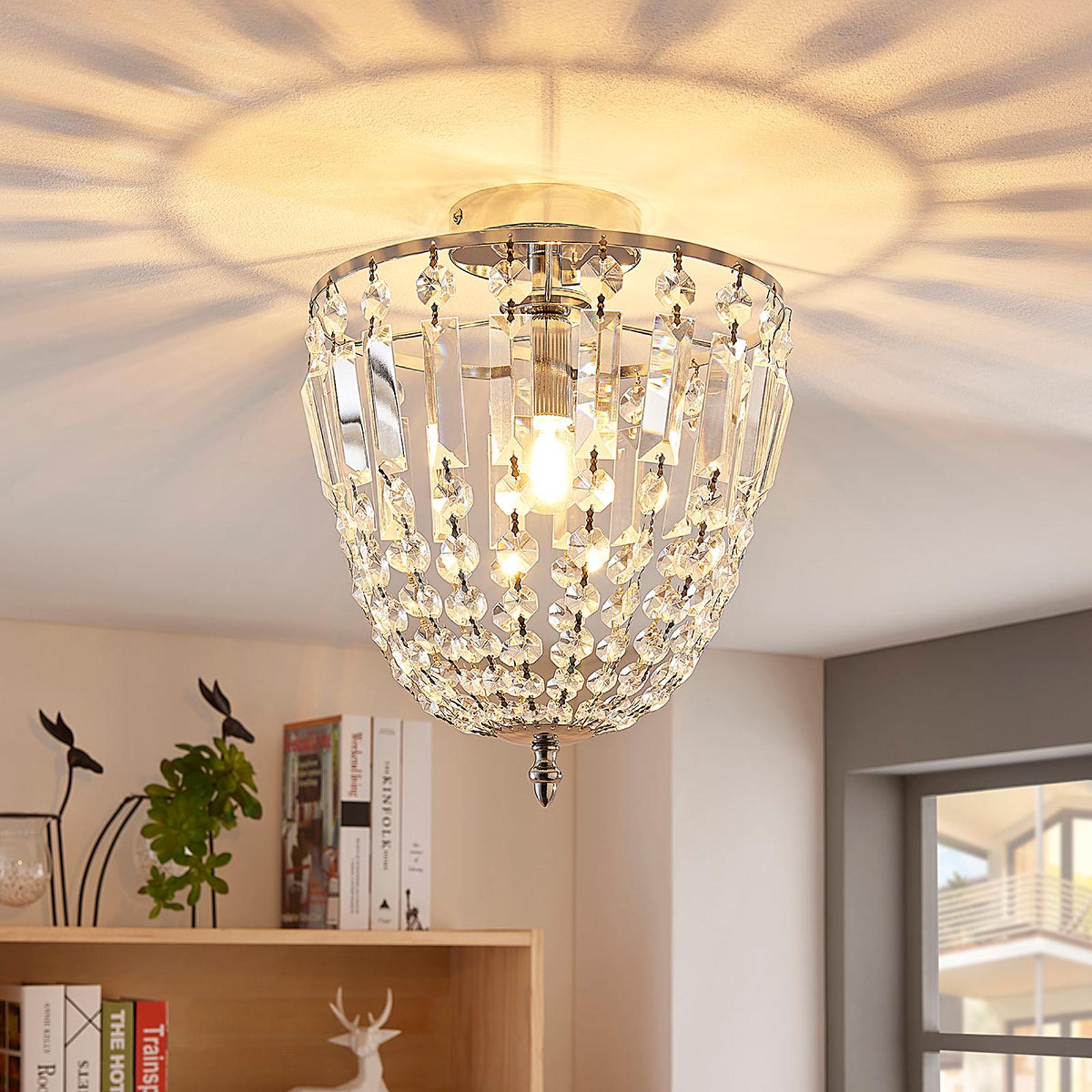 Lampa sufitowa Lionello, szklane kryształy