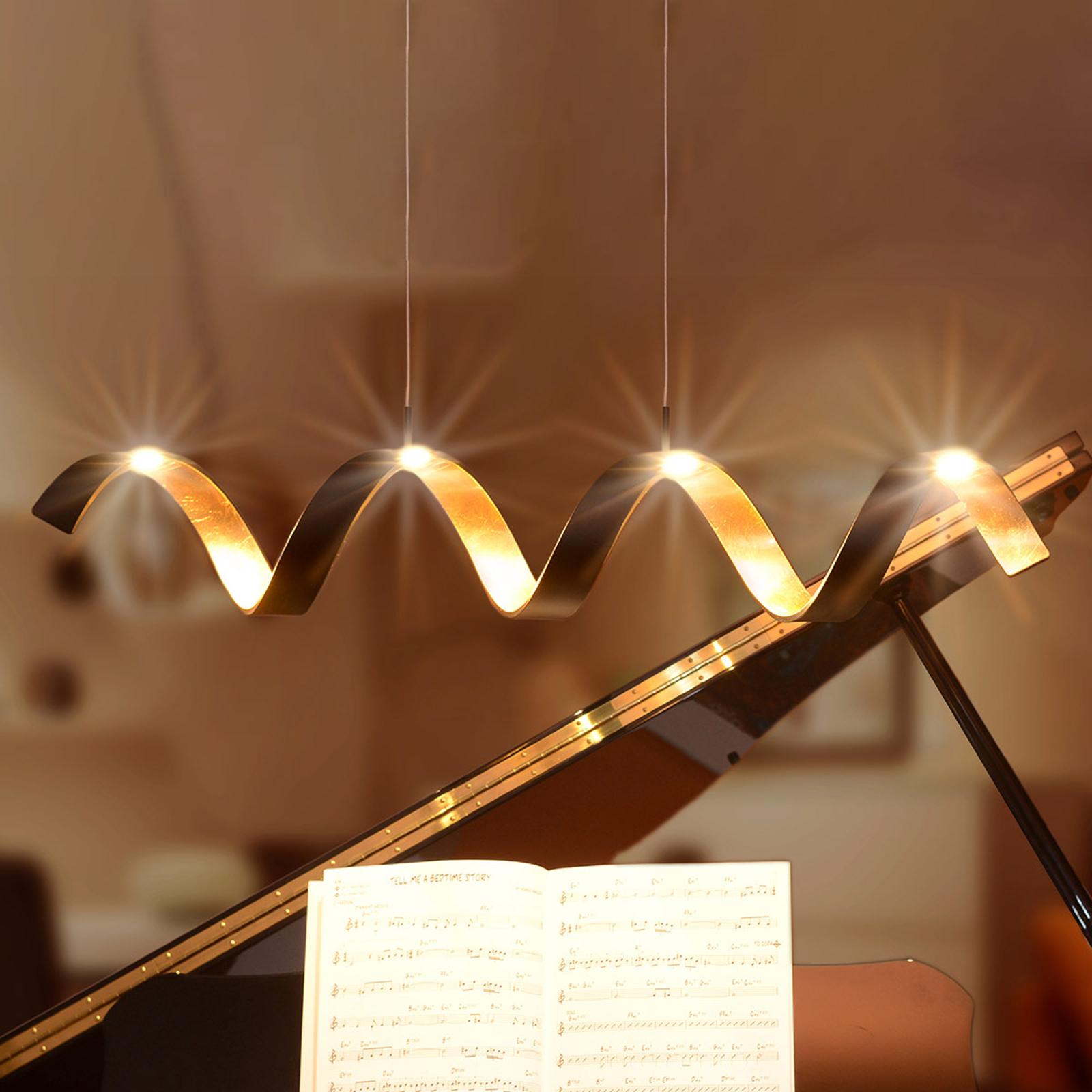 Suspension LED Helix, noir-doré, 80cm