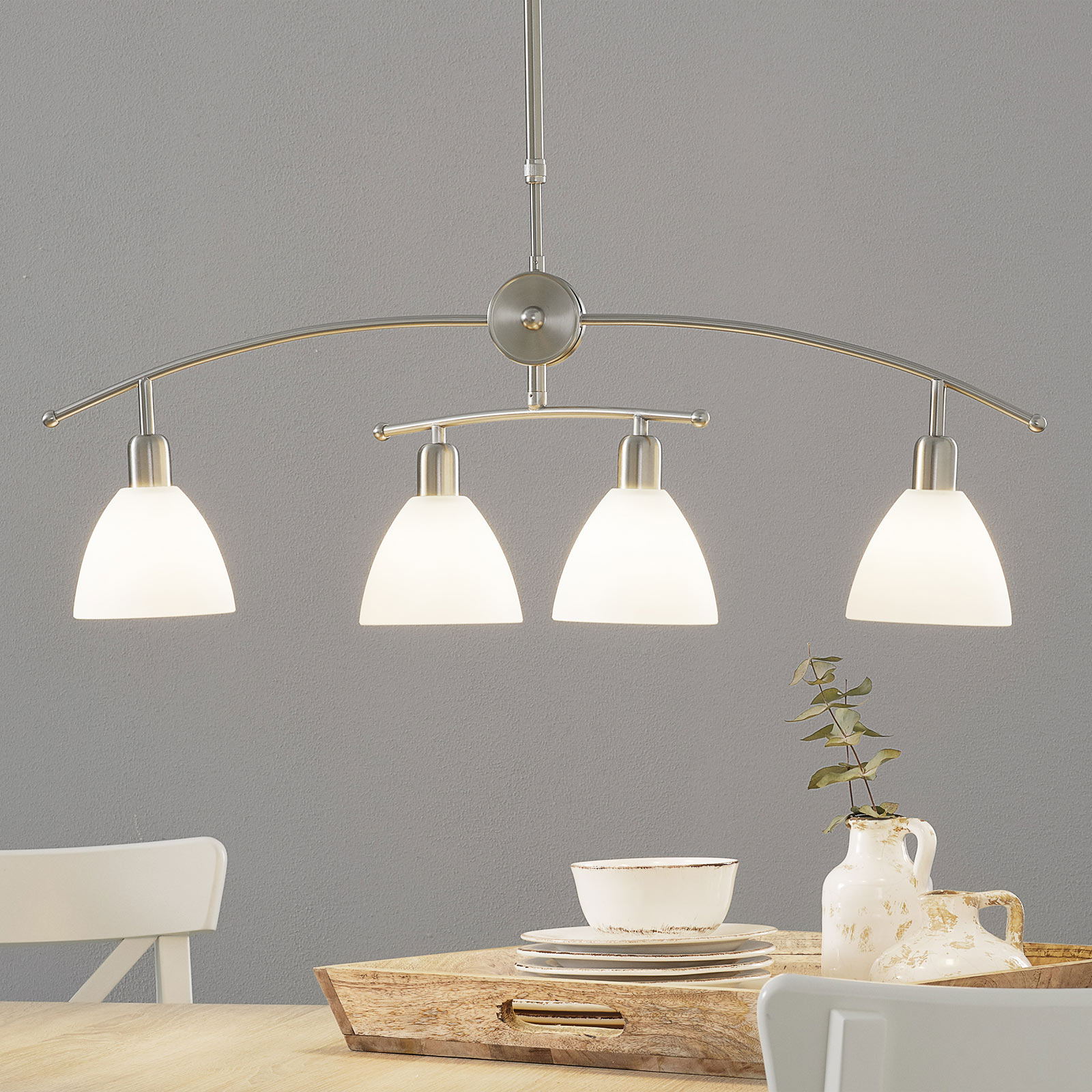 Charmante suspension KINGA à 4 lampes, nickel