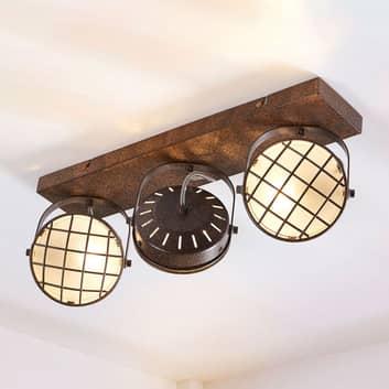 LED loftlampe Tamin med 3 lyskilder, rustbrun