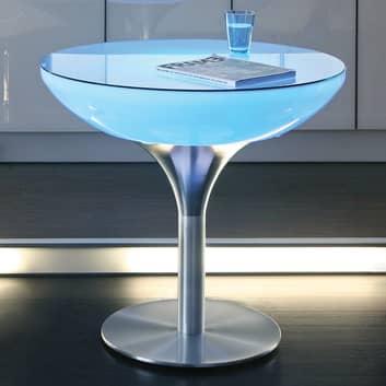 Świecący na kolorowo stół LOUNGE z żarówką LED