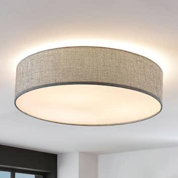 Deckenlampe Gordana aus grauem Leinen