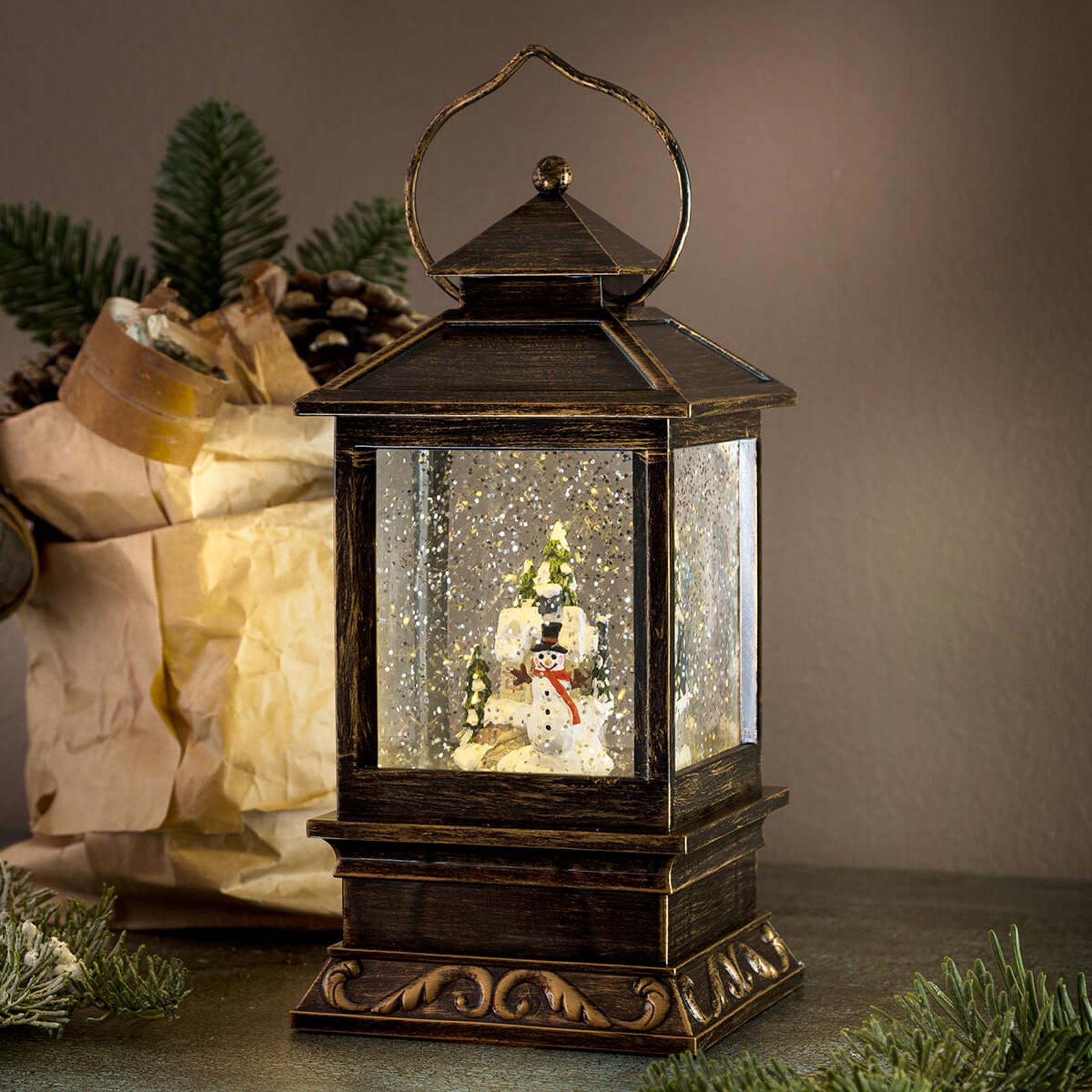 Lanterne décorative hivernale Bonhomme de neige