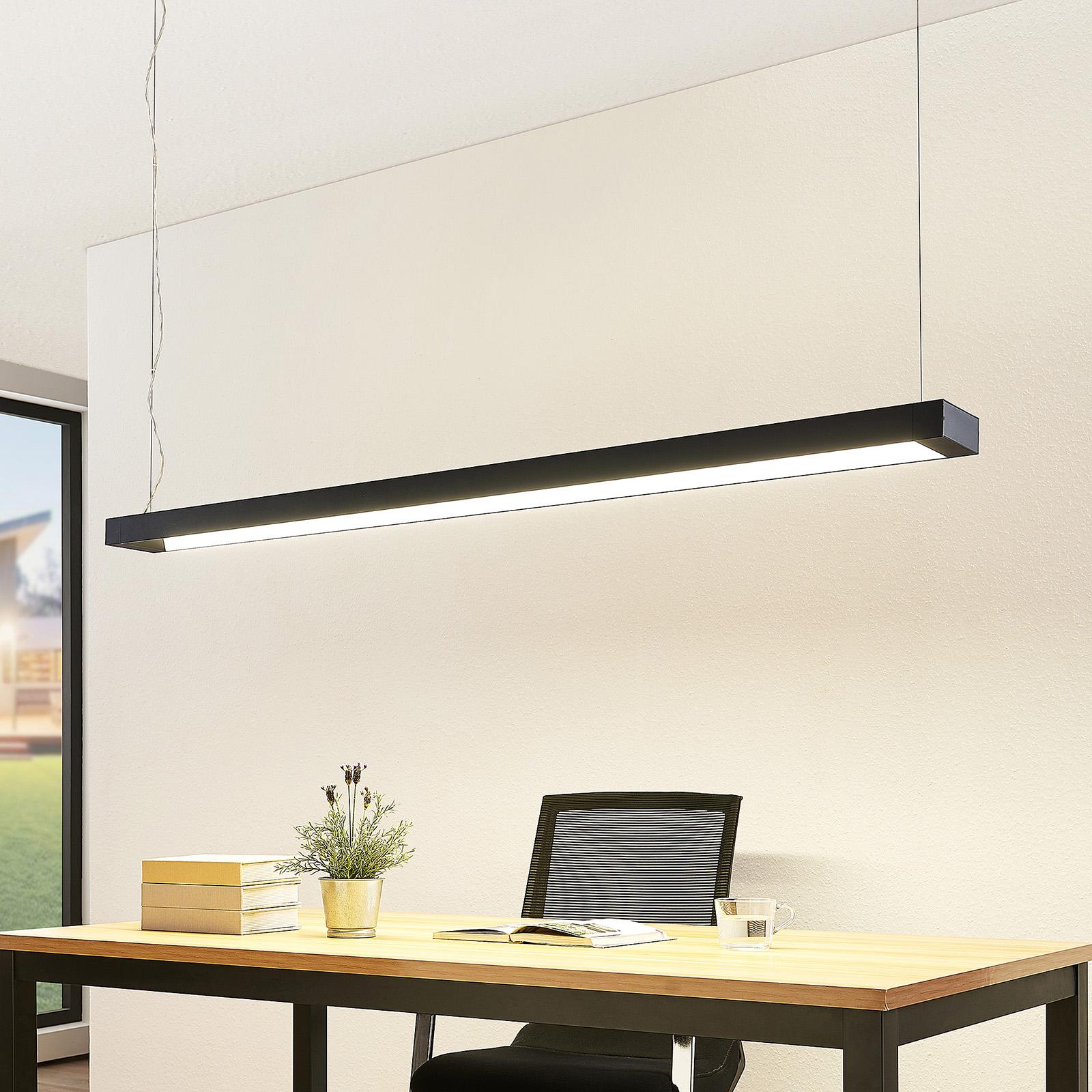 Arcchio Cuna suspension LED noire, angulaire 162cm