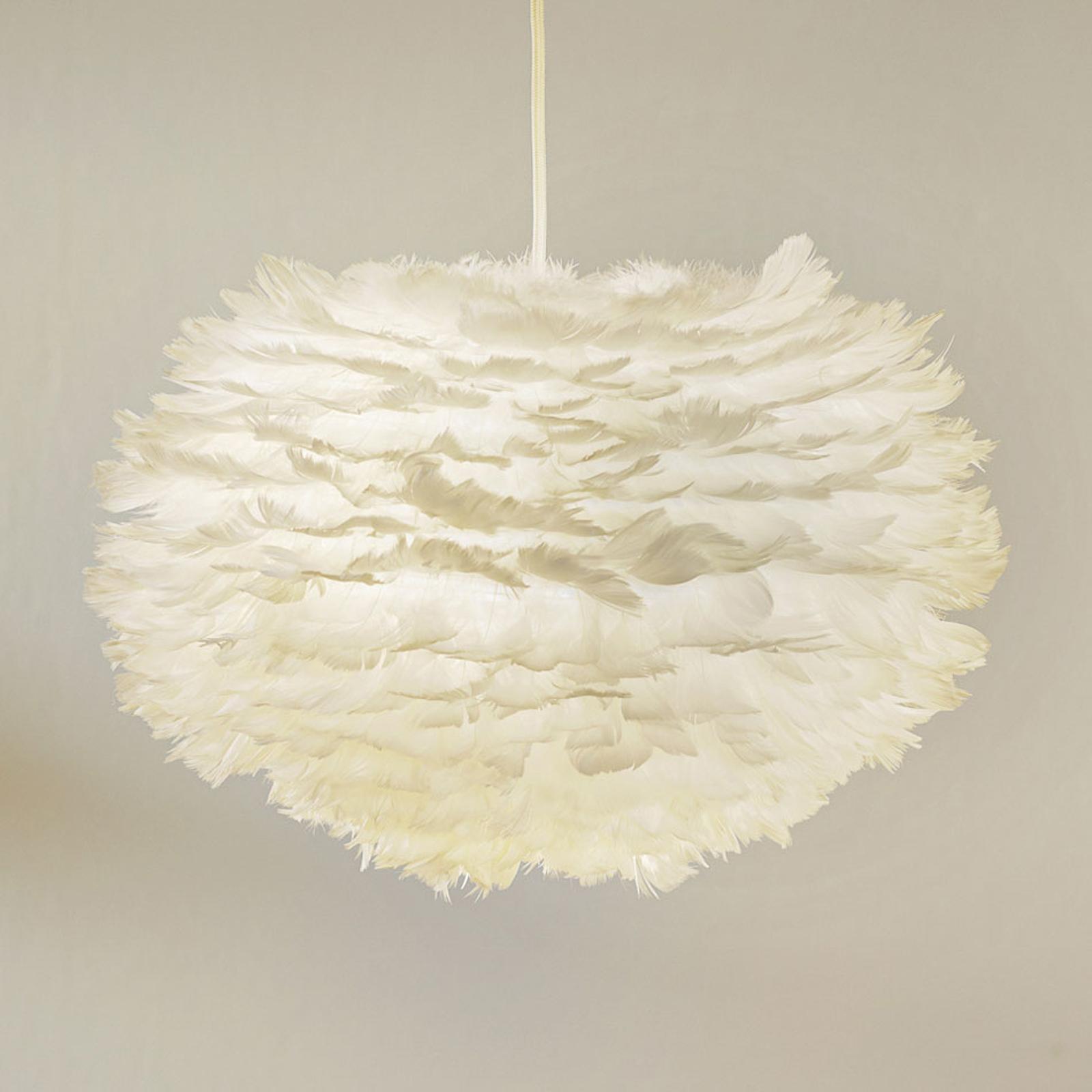 Pendellampa Eos medium av gåsfjädrar, vit