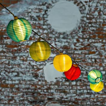 Lyskæde Papirlanterne udendørs 40 LED-kugl. kulørt