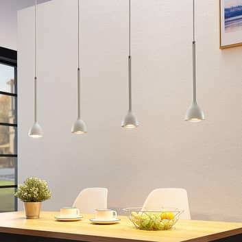 Hængelampe Nordwin, 4 lyskilder, hvid-sølv