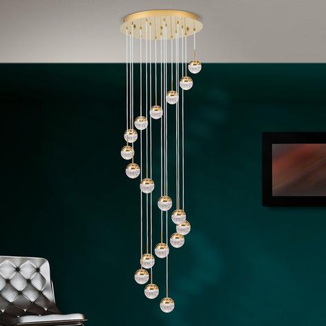 Lámpara colgante LED Ball 18 luces, oro/crema