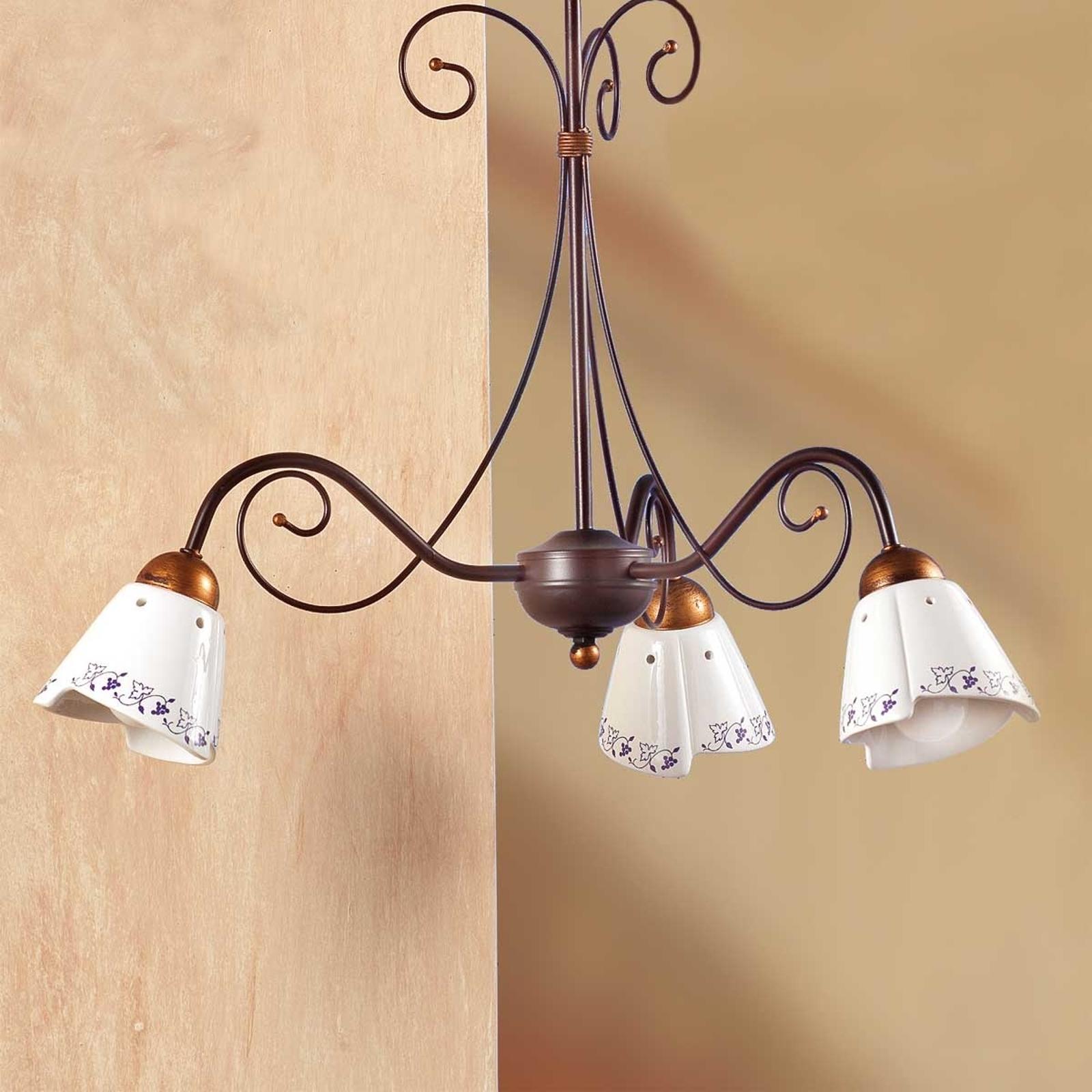Klassisk hængelampe CARTOCCIO, med 3 lyskilder