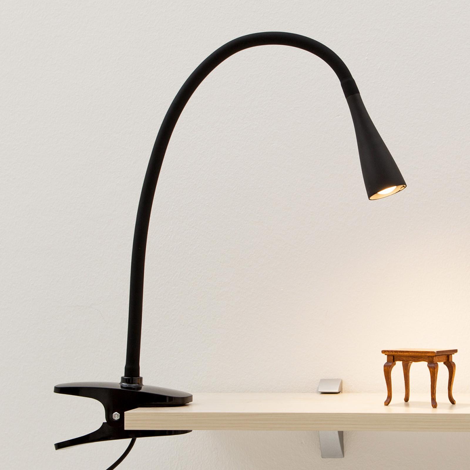 Esbelta lámparaLED de pinzaBaris negra