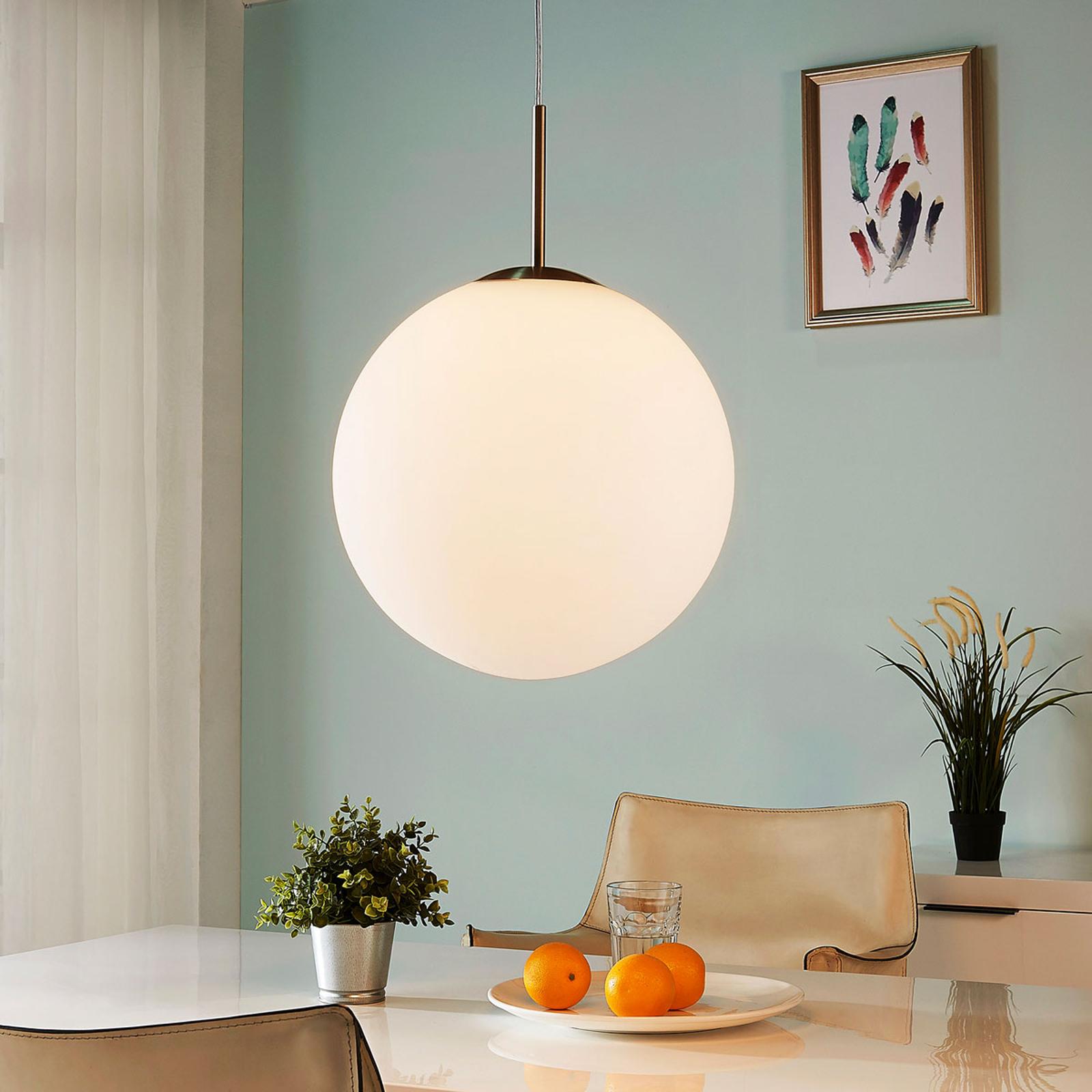 Kulista lampa wisząca Marike opalowe szkło, 35 cm