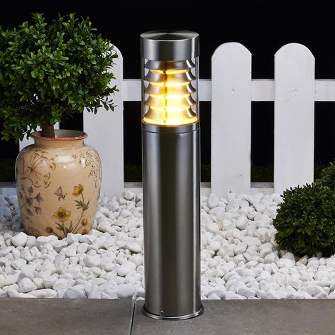 Sokkallampen Enja i rustfritt stål med lameller