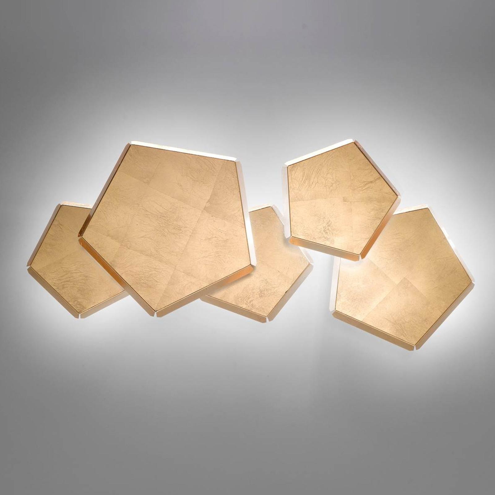 LED-vägglampa Pleiadi med bladguld, 5 lampor