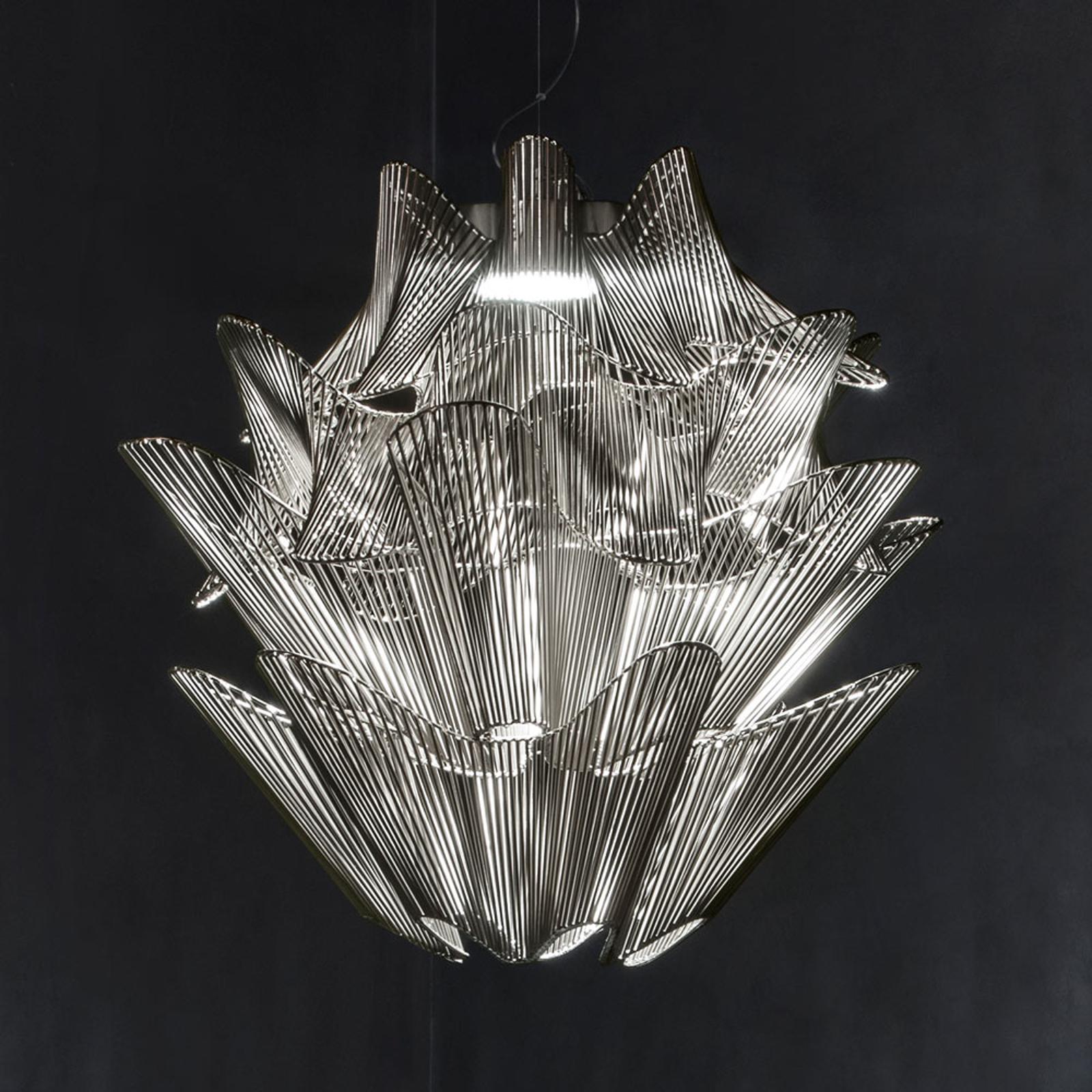 Terzani Moiré LED-hengelampe i nikkel
