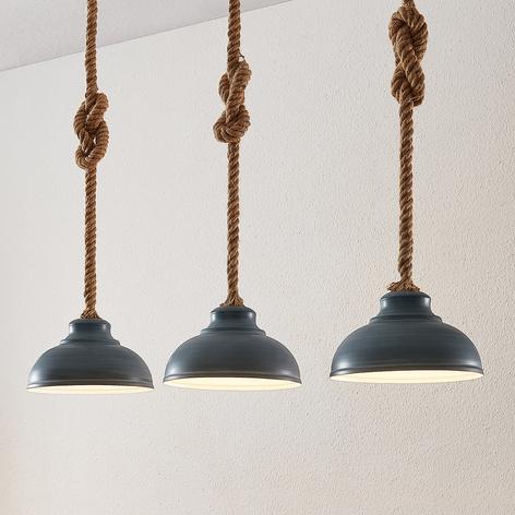 Lindby Chaby suspension aspect béton à 3 lampes