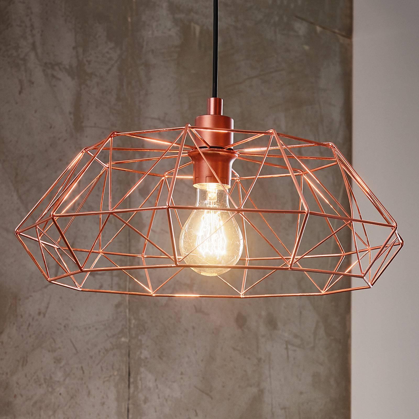 Hanglamp Carlton 2 m. koperkleurig gazen lampenkap