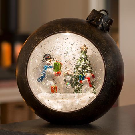 Bruine LED bol sneeuwpoppen, met water gevuld