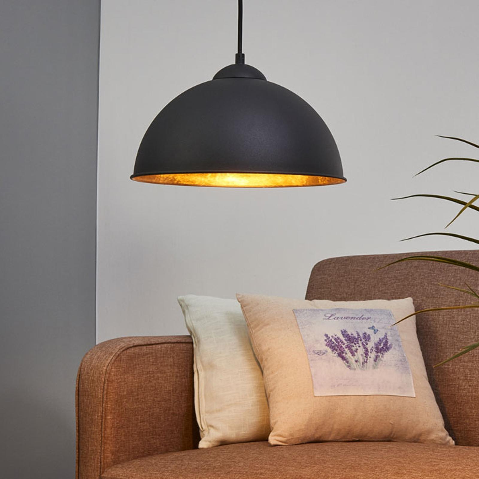 Czarno-złota metalowa lampa wisząca JIMMY