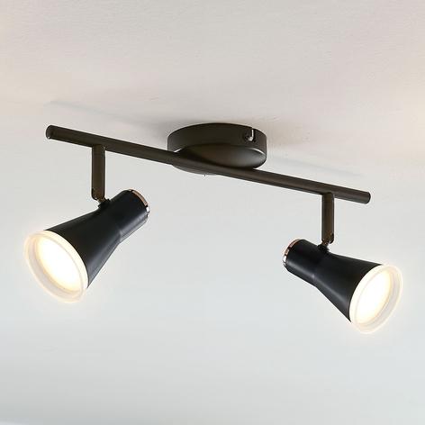 Spot pour plafond LED Michiko, noir, 2lampes