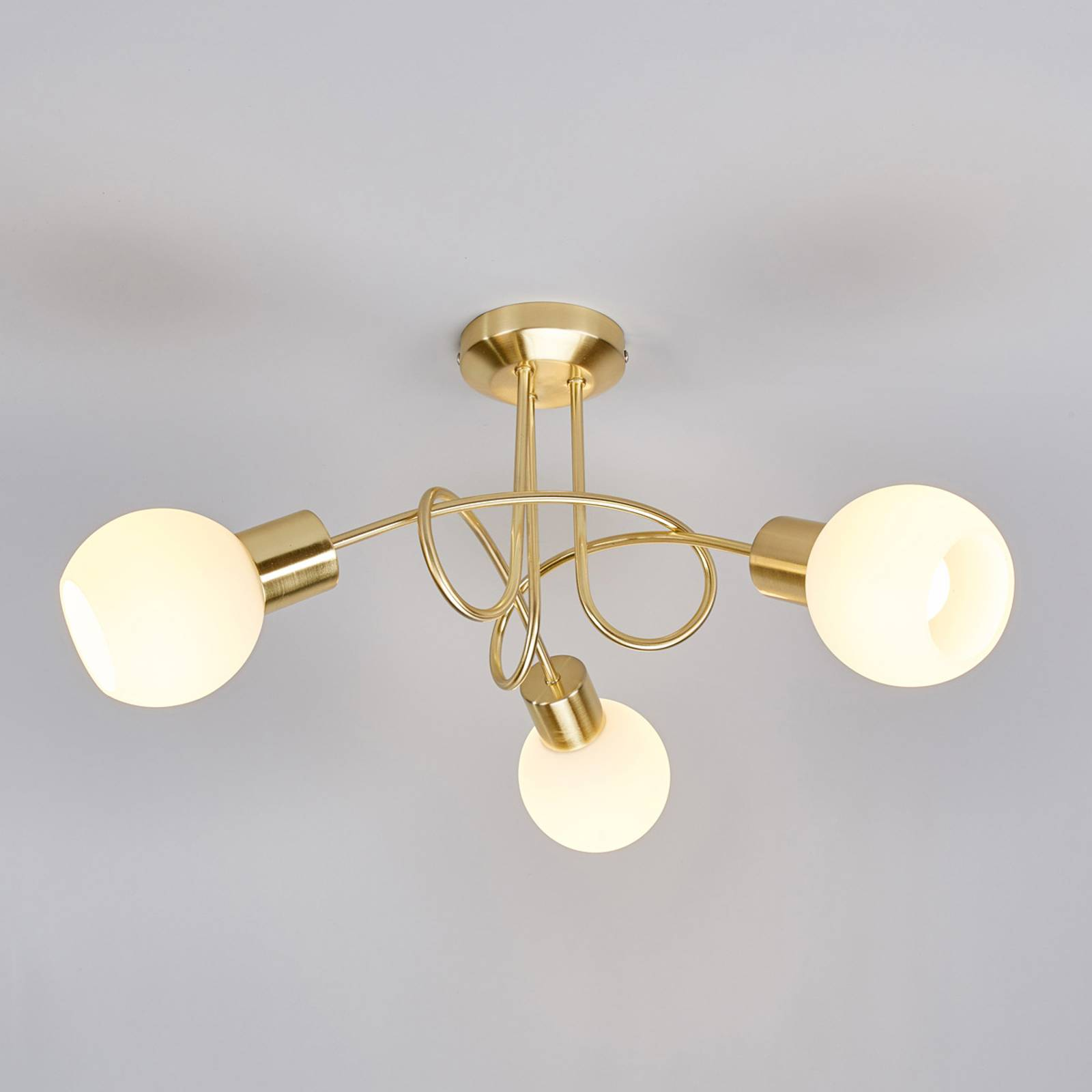 Messingkleurige LED-plafondlamp Elaina, 3-lichts