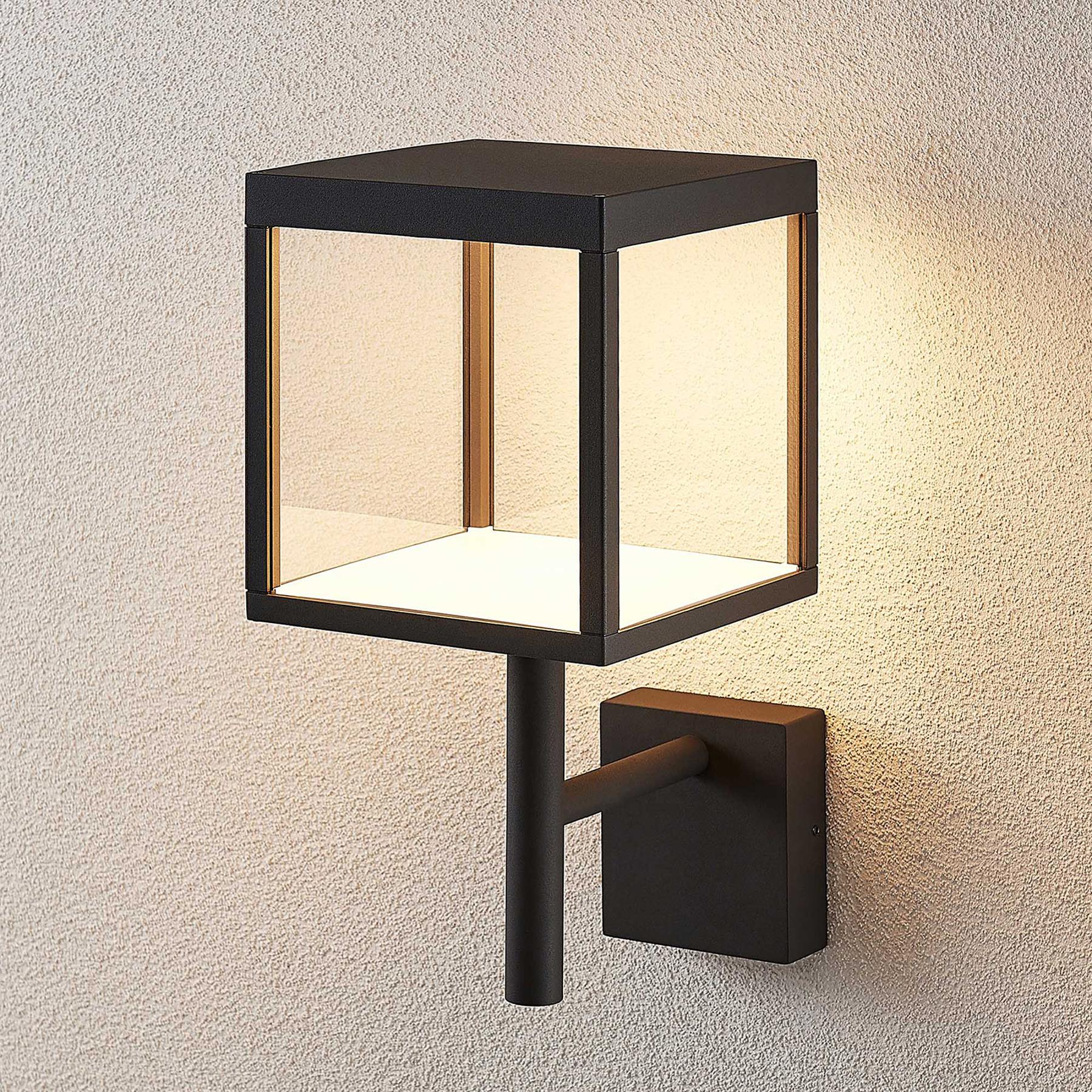Applique d'extérieur LED Cube, verre, graphite
