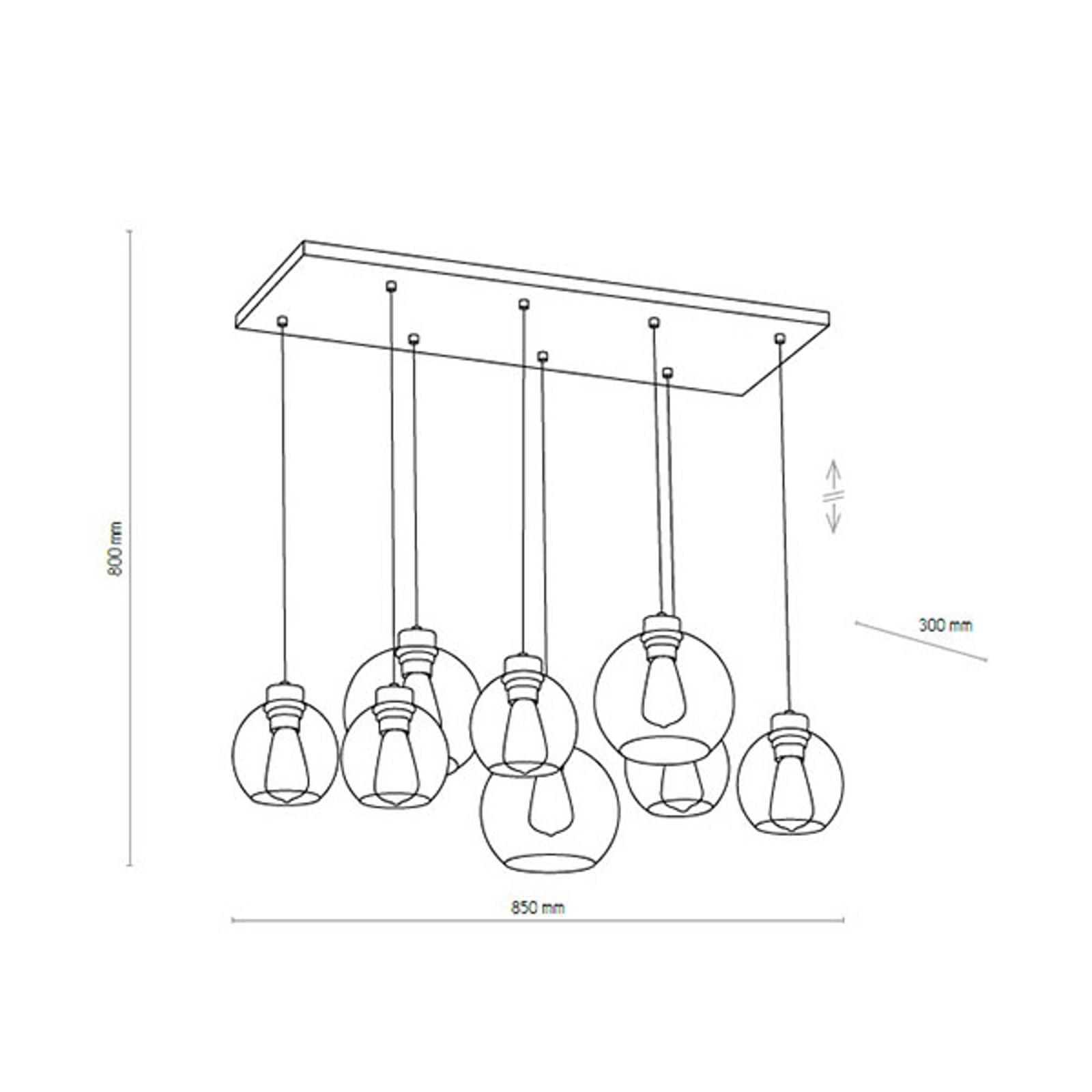 Lampa wisząca Cubus, 8-punktowa, grafitowa