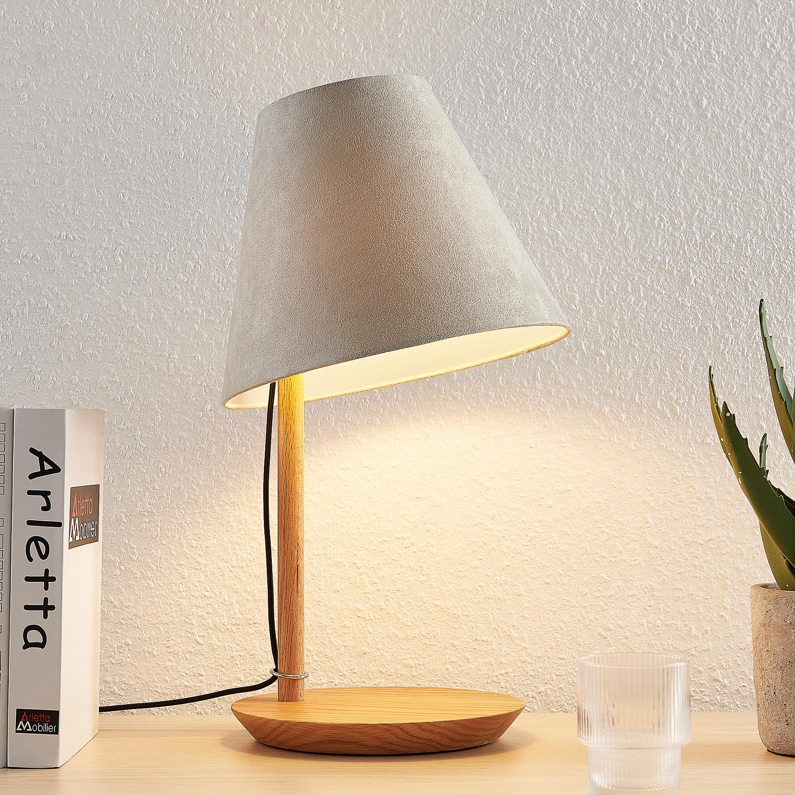 Lucande Jinda tafellamp, houtframe, fluweel grijs