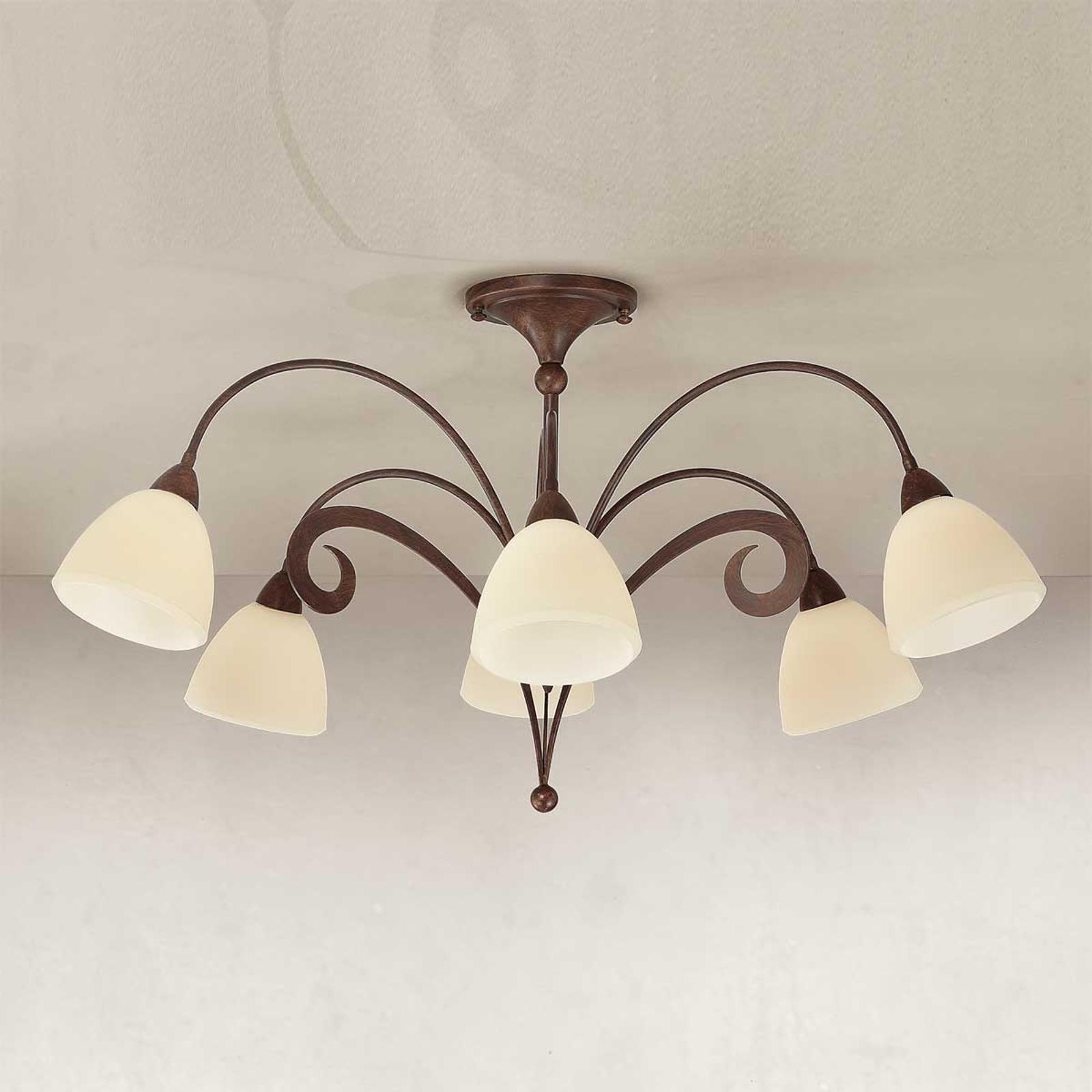 Rustykalna lampa sufitowa Luca 6-punktowa