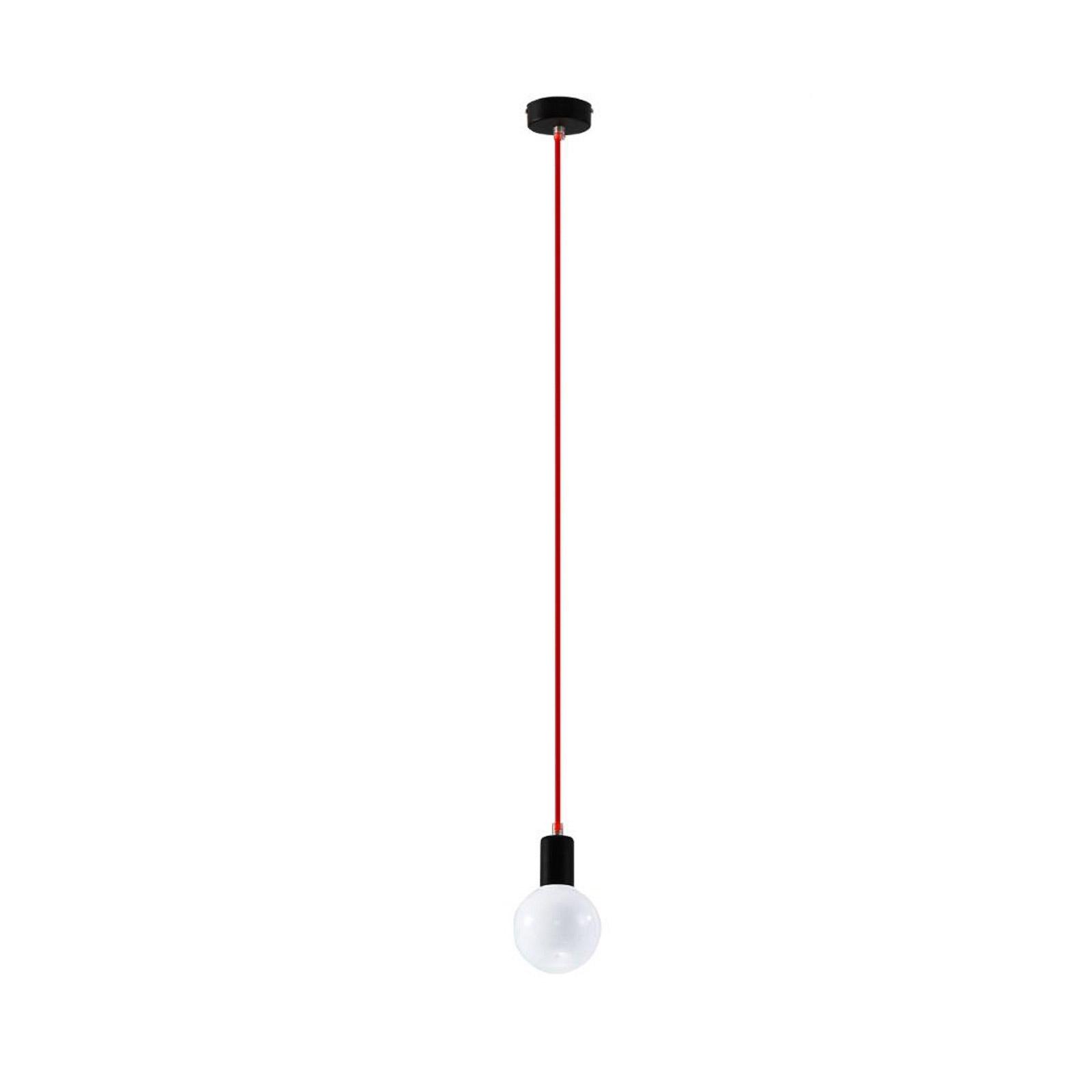 Závěsné světlo Simple, černá, kabel červený