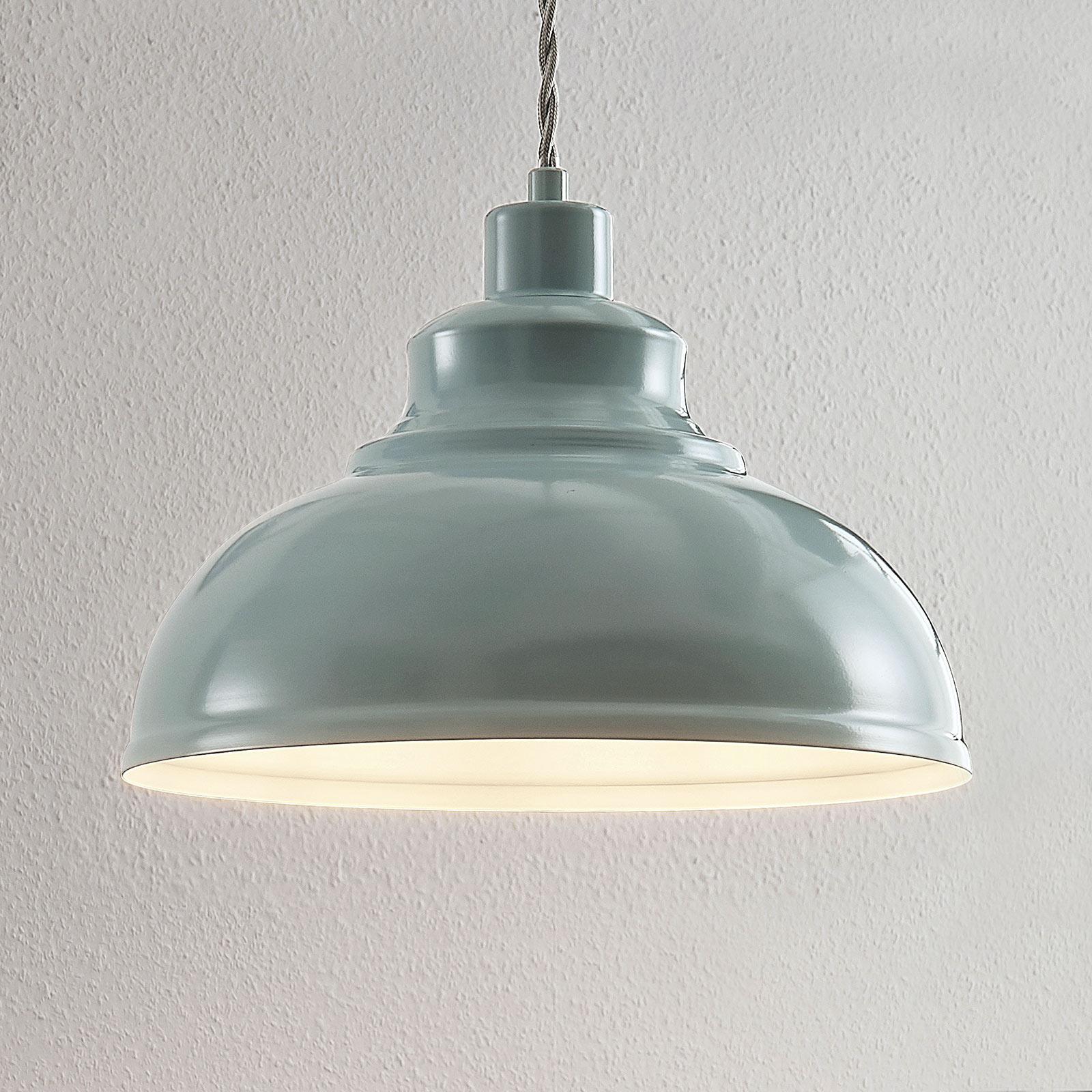 Vintage hanglamp Albertine, metaal, lichtblauw