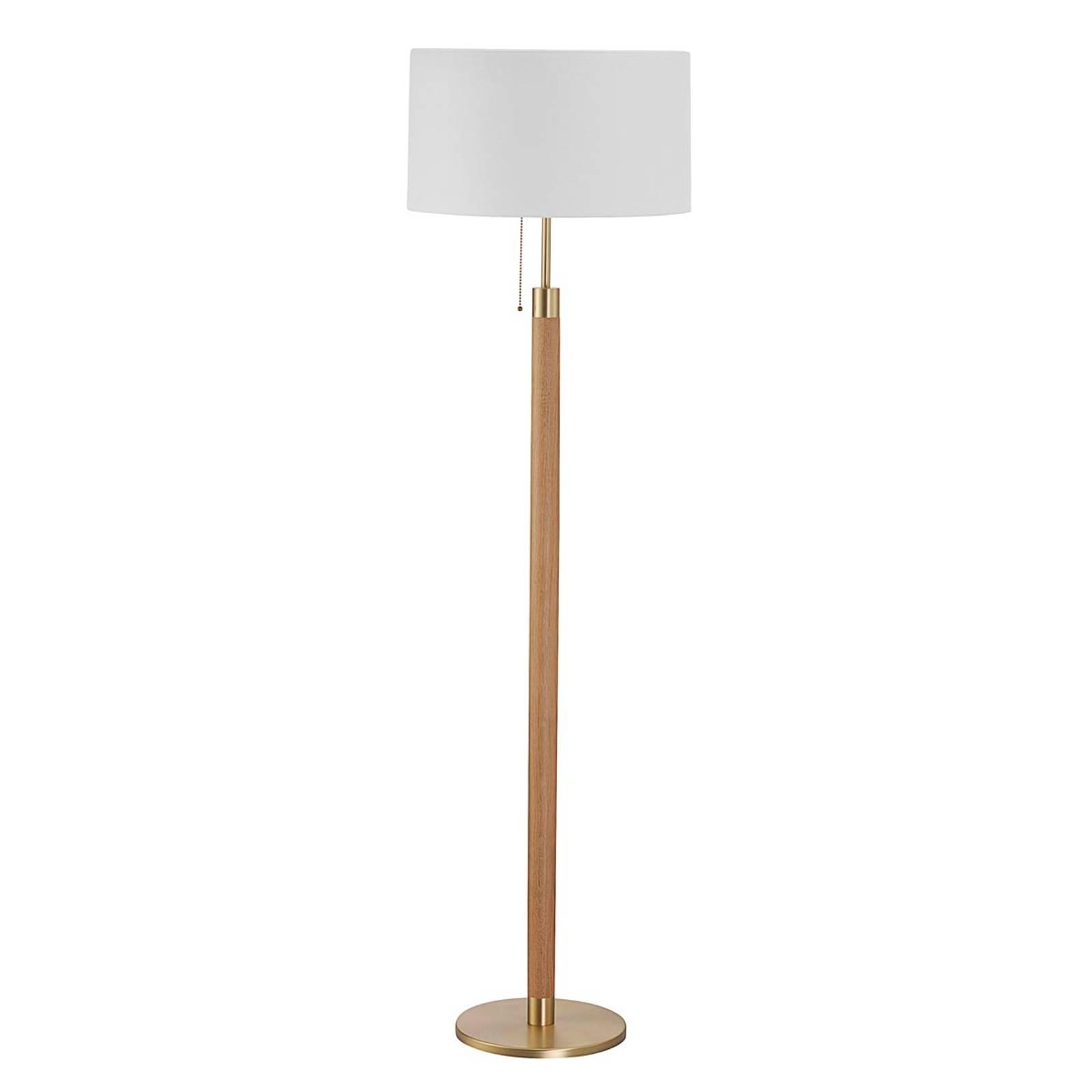 Houten vloerlamp Lignum met sits-kap, messing