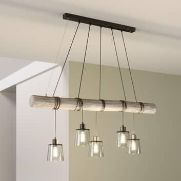 Karrl hængelampe, 5 lyskilder, røggrå, grå