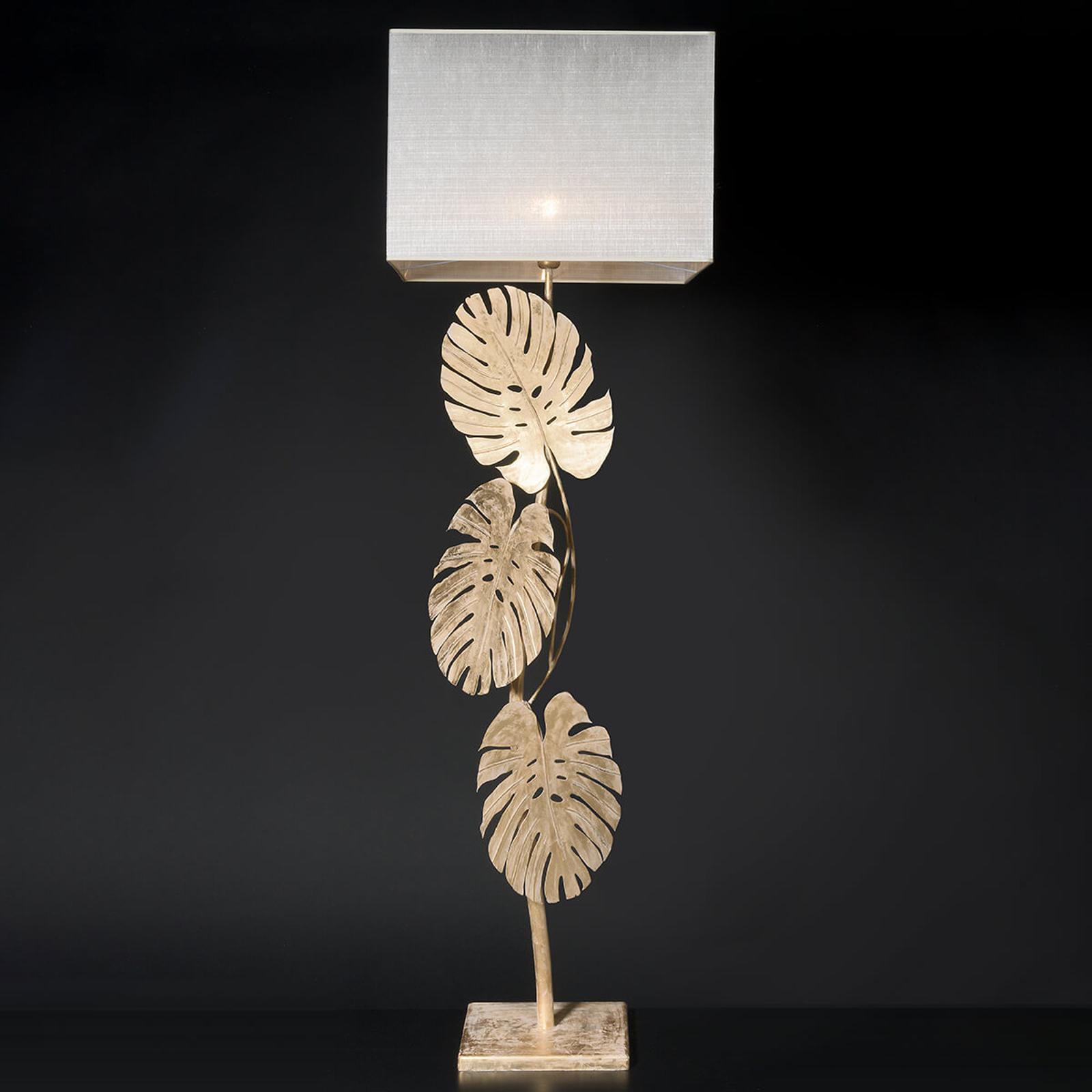 Imposant lampadaire Lizia doré à la feuille