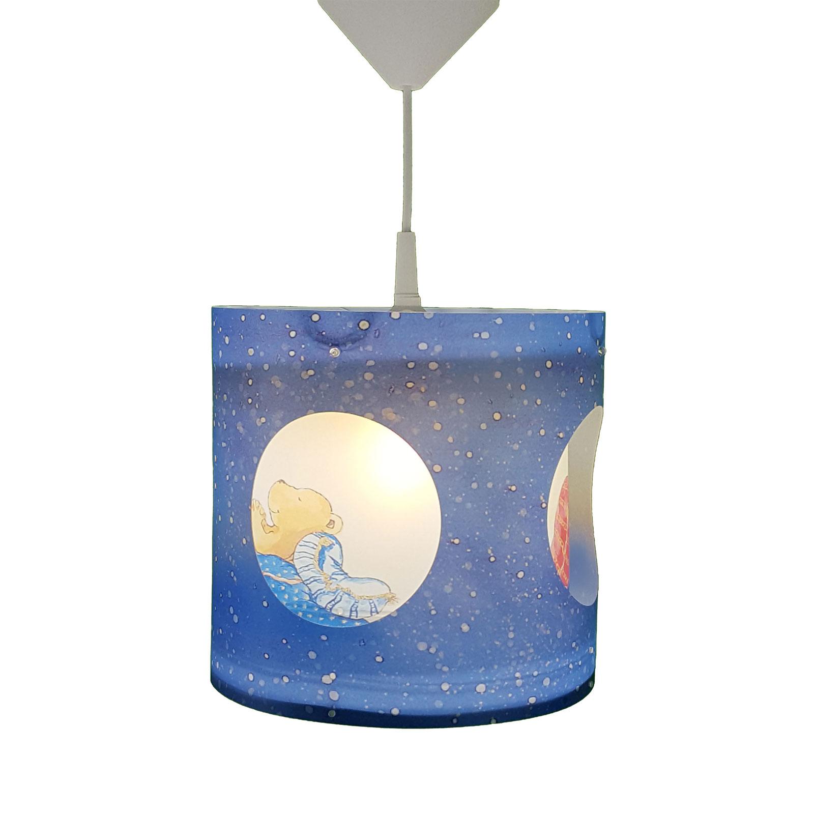 Obrotowa lampa wisząca Miś, niebieska