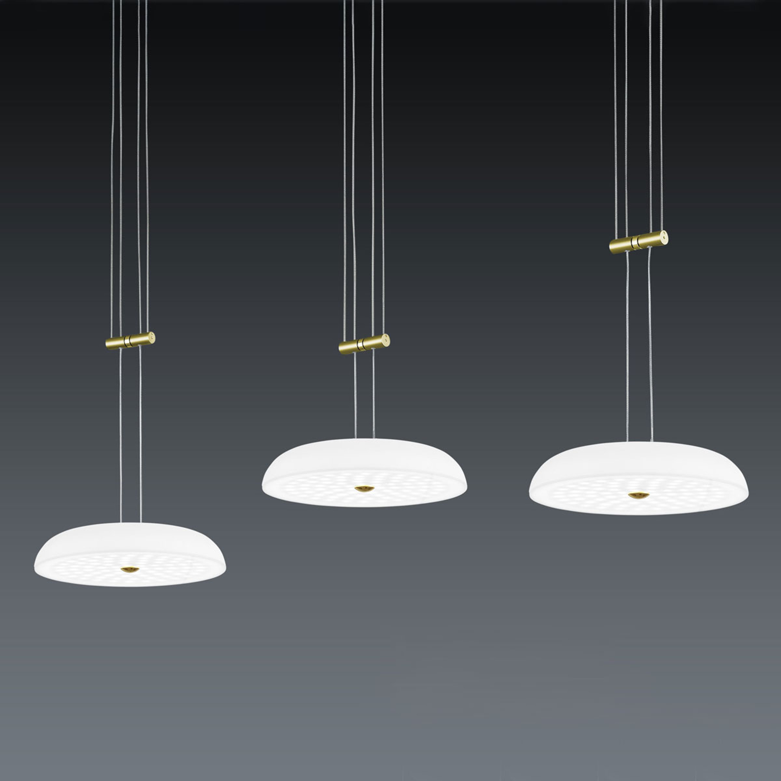 BANKAMP Vanity lampa wisząca 3-pkt. mosiądz