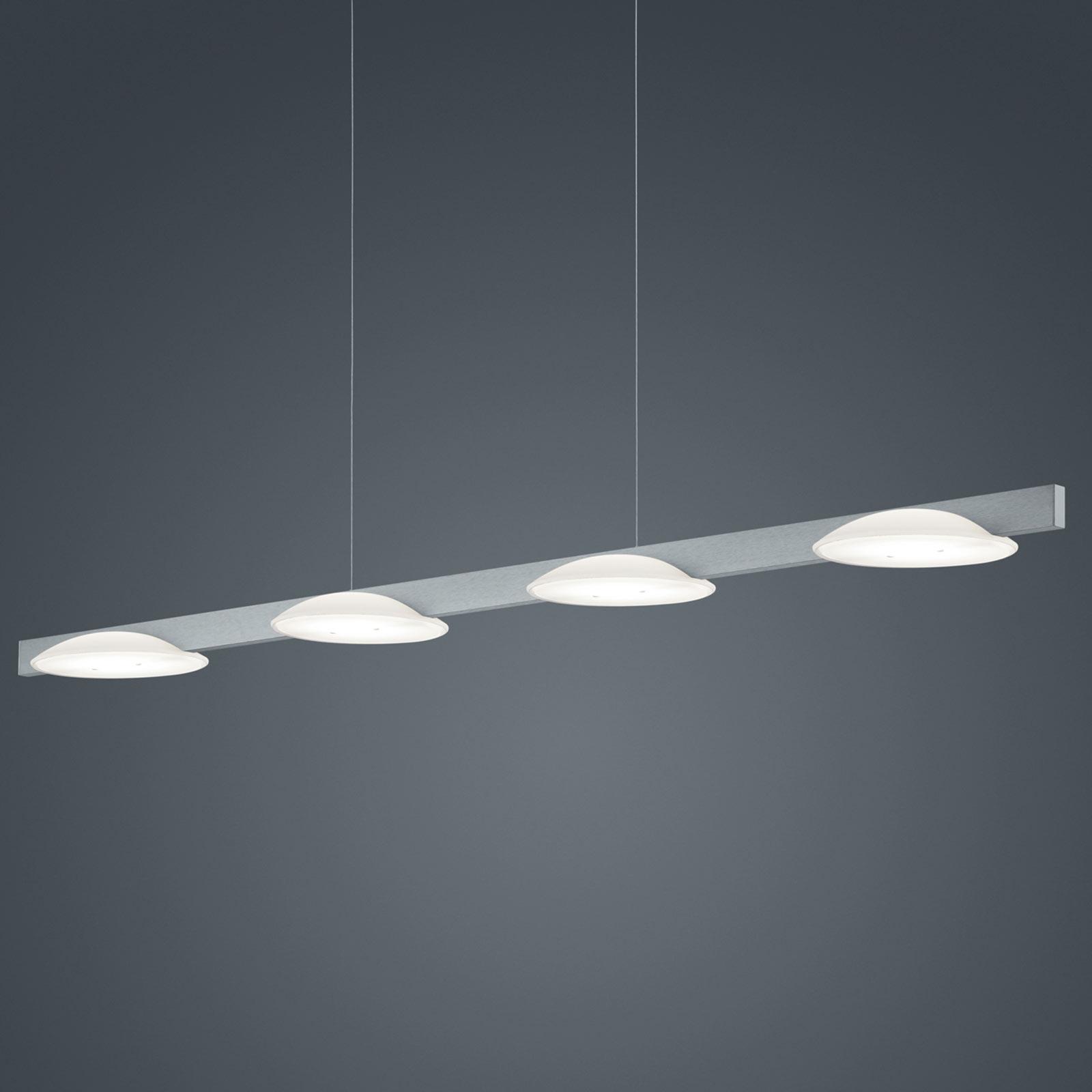 Helestra Pole LED sospensione 4 luci nichel