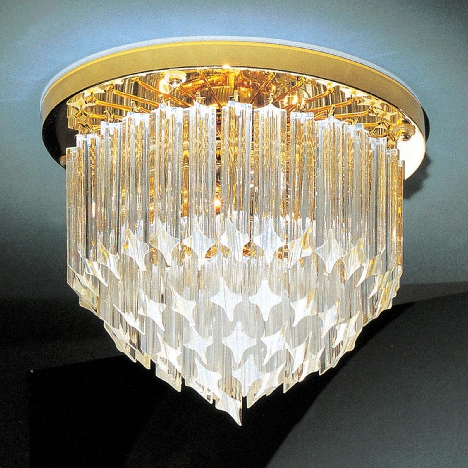 Kryształowa lampa sufitowa Punta z 24-karat złotem